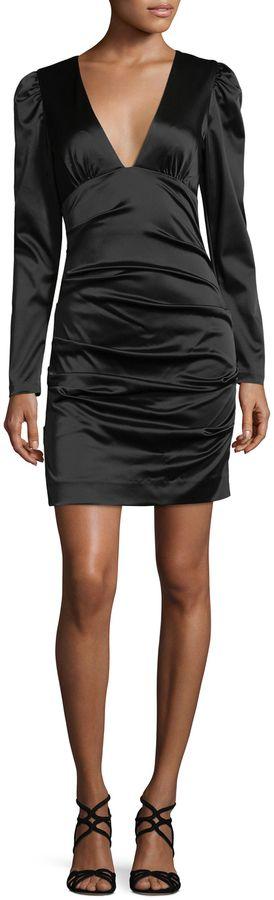 Nicole Miller Women's Ricci Stretch Satin Mini Dress