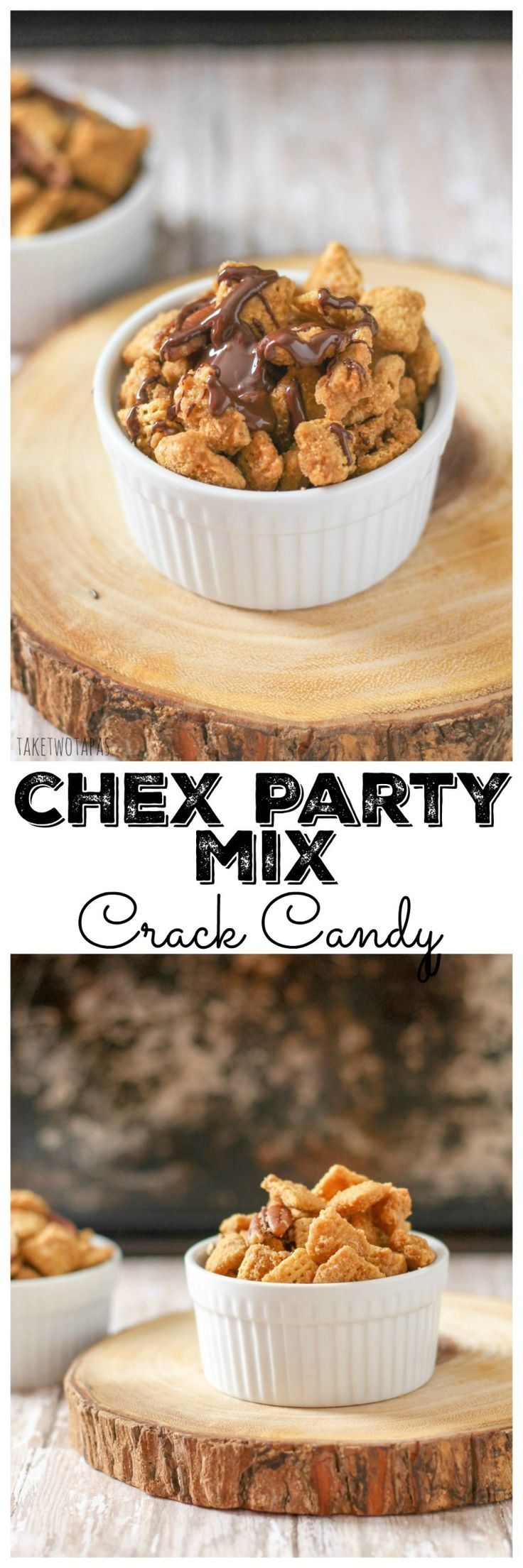 This iconic Chex Mix recipe is made from Rice and Corn Chex and covered in a crunchy caramel coating that contains a dash of cinnamon. This Chex Mix Crack Recipe also has a dark chocolate drizzle on it for another touch of sweetness. Crack Chex Party Mix Recipe | Take Two Tapas