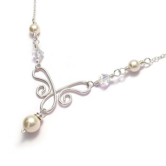 Swarovski Pearl & Crystal Sterling Silver Wirework Bridal Necklace - Bridal Jewellery - Wedding Jewellery