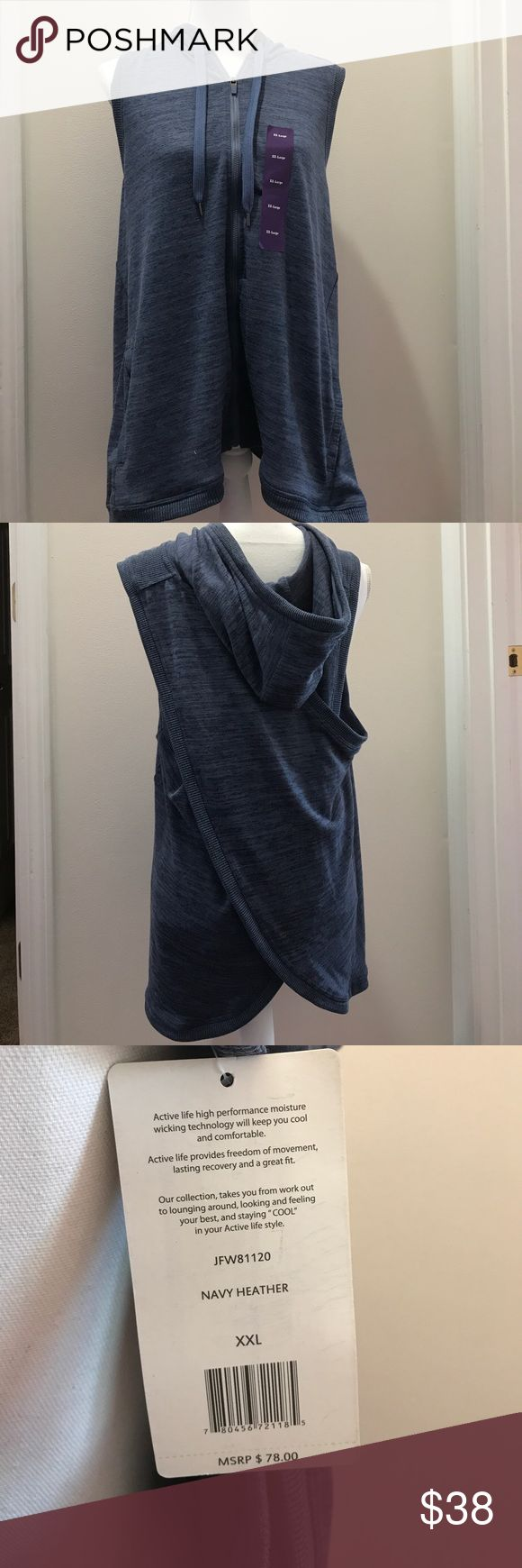Split Back Sleeveless Navy Hoodie, New With Tags! Size XXL, Super Cute! Active Life Tops Sweatshirts & Hoodies