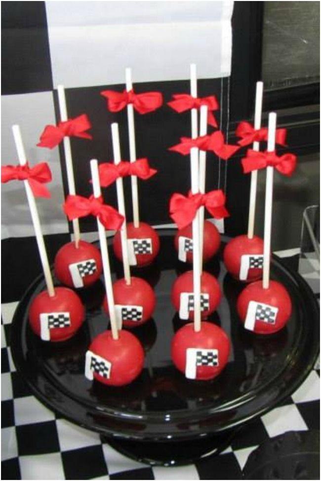 Race Car Birthday Party Checkered Flag Cake Pops www.spaceshipsandlaserbeams.com