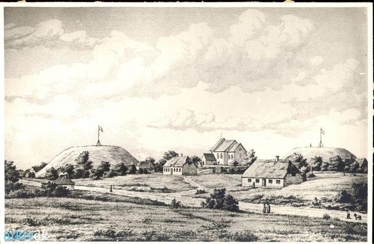 arkiv.dk | Postkort - Jelling set fra øst (motiv fra ca. 1850)