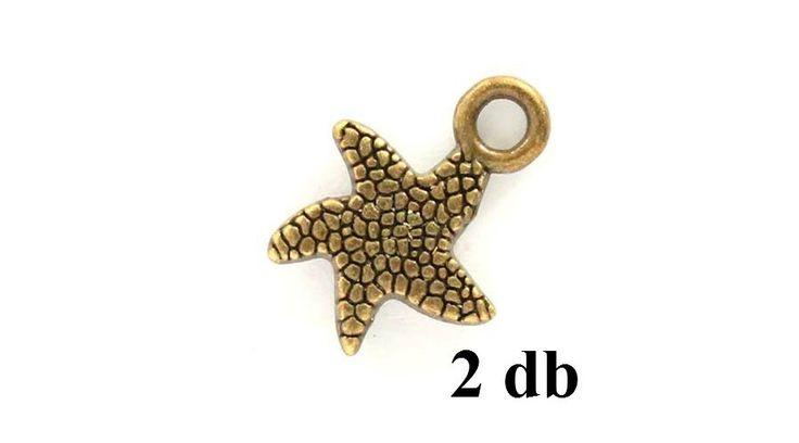 Antikolt bronz színű tengericsillag függő dísz NIKKELMENTES 2 db - Csinálj Ékszert Ékszerkellék Webáruház