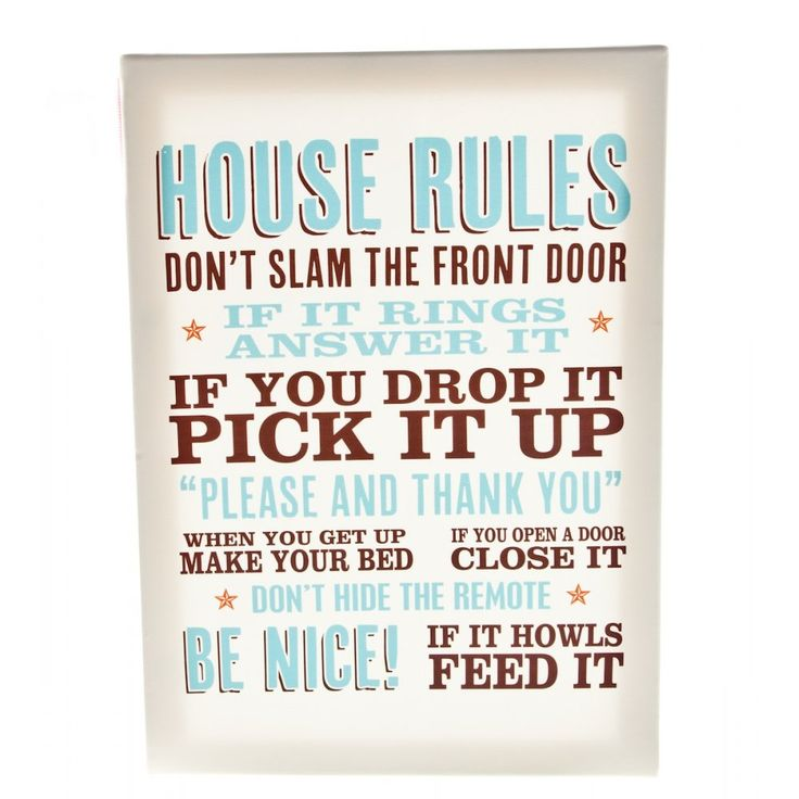 house rules | Home  Homeware  Wall Signs & Plaques ...