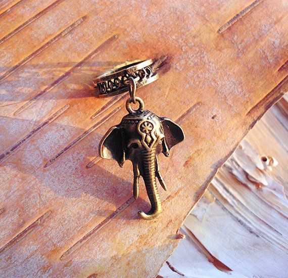 Antiques Brass Elephant Charm ADD to your DREADS Dreadlock Accessory Extension Accessories Dread Boho Bohemaian Hippie Bead