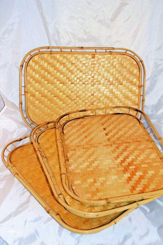 4 Vintage Trays Bamboo Wicker Retro Tiki Luau Bed Serving