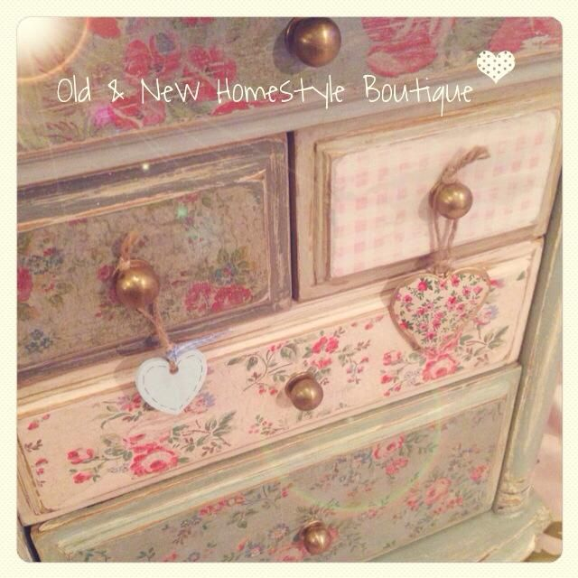 I rescued this beautiful little cabinet from the bins & brought it back to life by painting with homemade chalk paint & decoupaging with paper napkins.. Such a cutie now :)