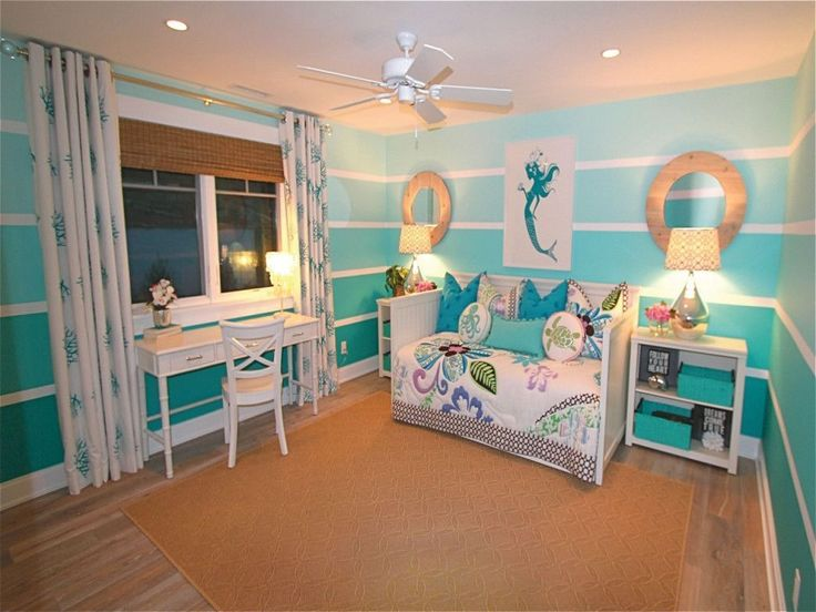 Bedroom: Beach Themed Bedroom For Teenage Girl With Mermaid Wall Art Brown Area Rugs Natural Oak Hardwood Flooring Bedside Drawers With Glass Table Lamp And Paper Lamp Shades from 20 Decorative Girls Bedroom Ideas