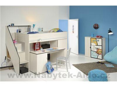 Patrová postel Gravity s psacím stolem 2347COMB-BURE