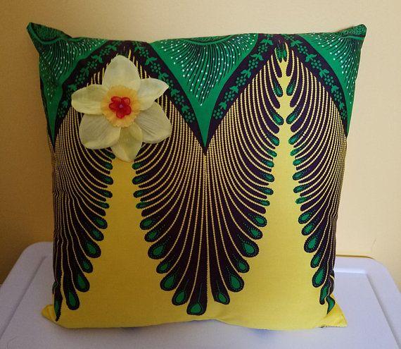 16 x 16 Ankara fabric pillow-african theme pillow-tropical