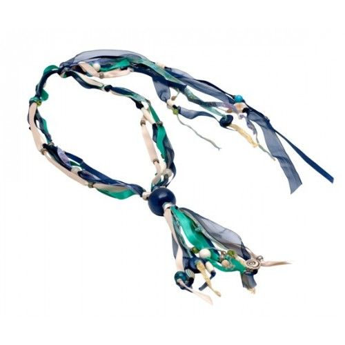 """""""Benthesikyme """" necklace asymmetrical compositions of gems, crystals and ribbons"""