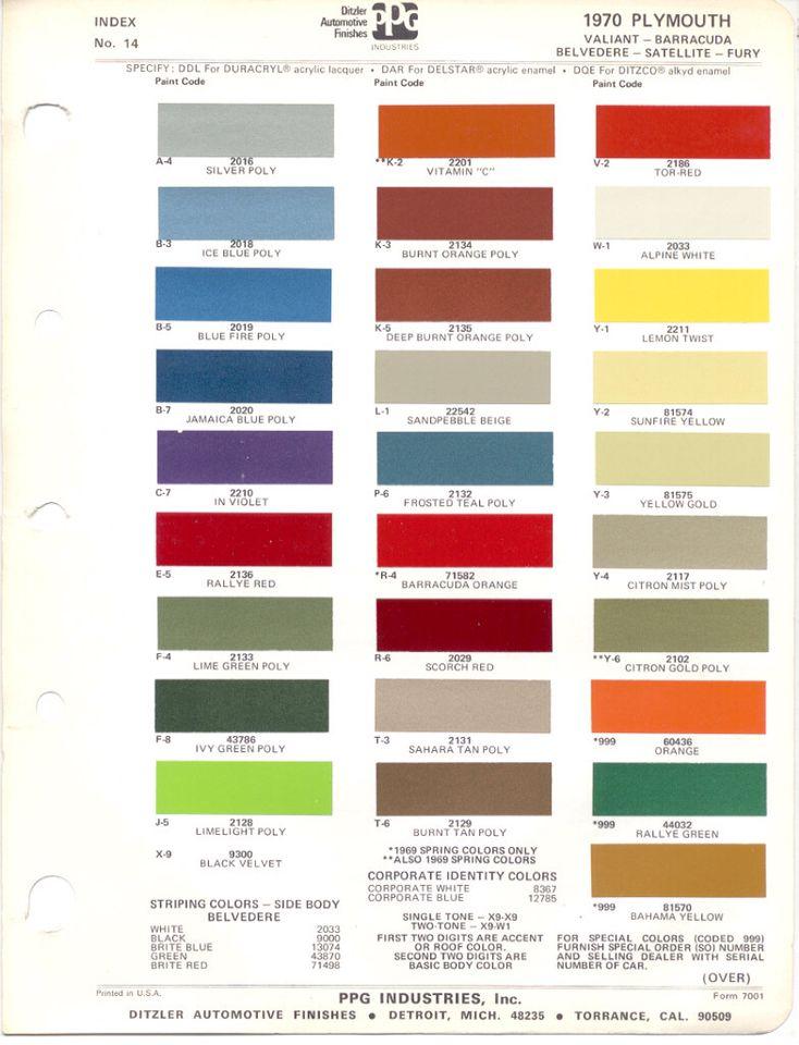 1970 plymouth color chip mopar or no car pinterest for Paint color chips