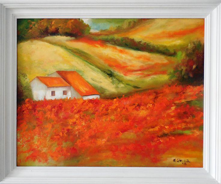 obraz olejny, pejzaż, malarstwo olejne, pola maków