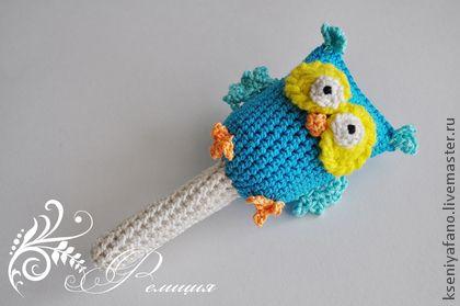 Погремушка Совушка - погремушка,погремушка крючком,погремушка вязаная