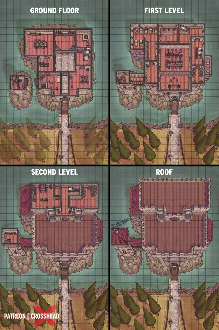 Castle Map Cross Sections In 2019 Dungeons Dragons