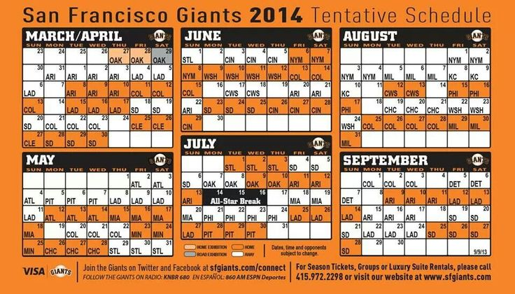 SF Giants 2014 Schedule