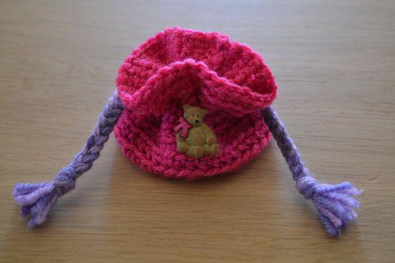 Pink coin purse, children coin purse, girls coin purse, crochet coin purse