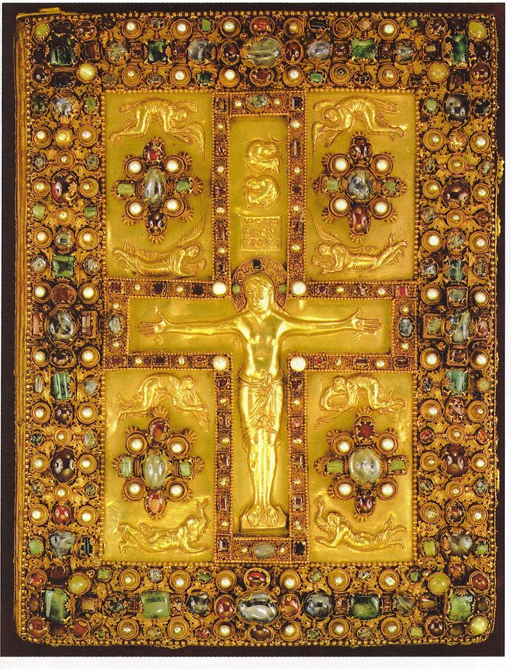 Boekband van het Evangelarium uit Lindau ~ ca. 870 ~ Goud en juwelen ~ 35 x 26,5 cm. ~ Pierpont Morgan Library, New York