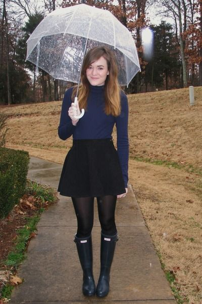 Navy Hunter Wellies and Skater skirt.