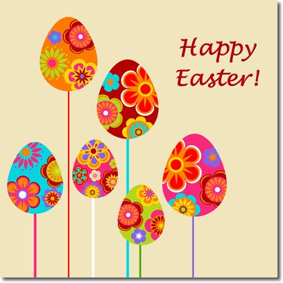 cute easter card | Colorful easter eggs on stalks - a vibrant and playful design
