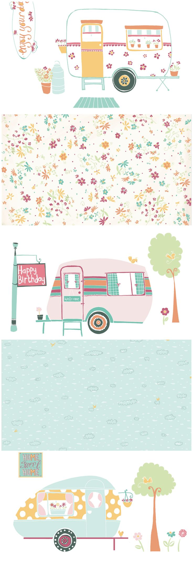 Make beautiful summery cards with our free printable retro caravan papers designed by Naomi Skinner!