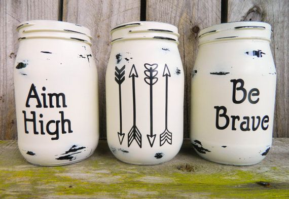 Vintage glass jars hand painted Be Brave  Aim High by proudpixies, $32.00