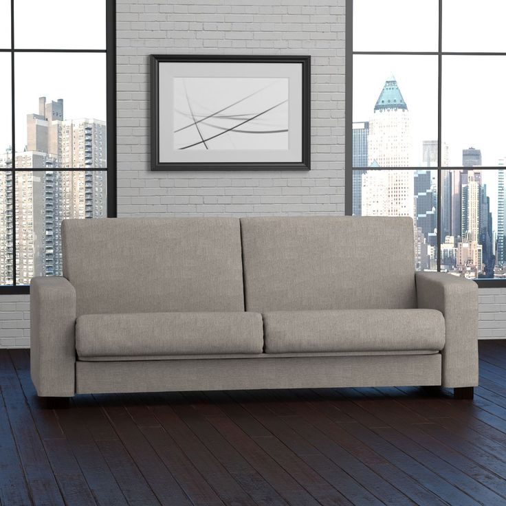 Stylish convert-a-couch sofa sleeper features a thick pillow-top seat providing comfort for sleeping or sitting. The convertible design lets you easily transform the sofa into a full-size sleeping surface making this a smart addition to your home.