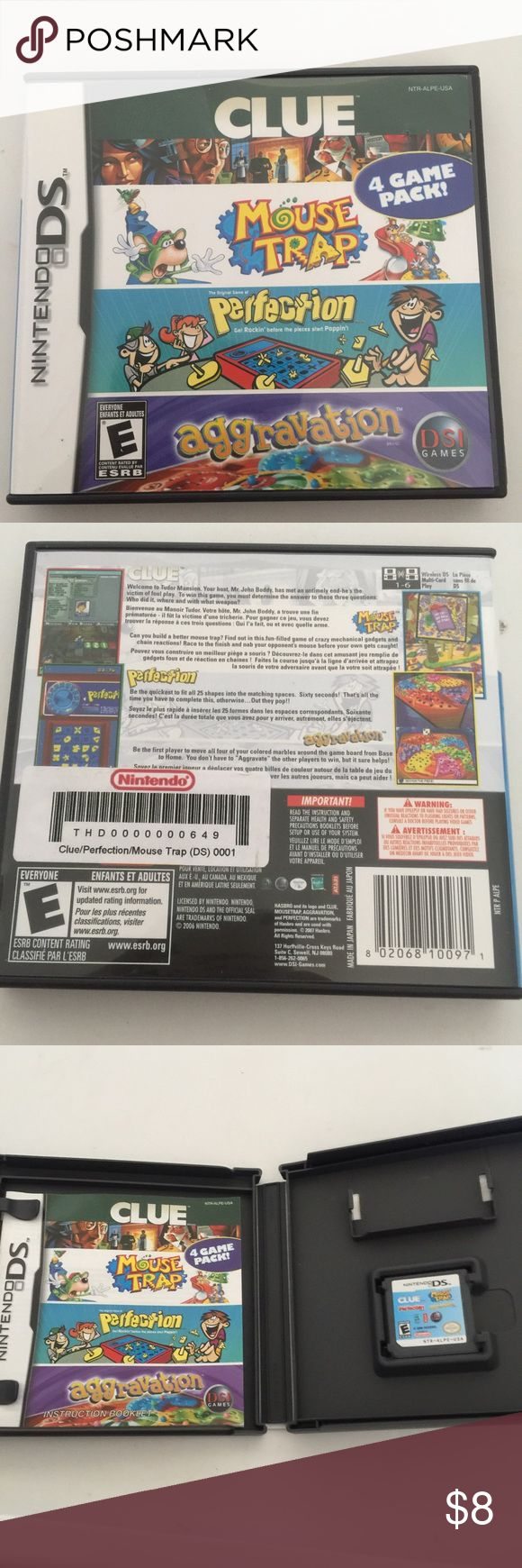 Nintendo DS 4 Games Pack Hello, this is a Nintendo DS 4 Game Pack. Clue,  Mouse Trap, Perfection, & Aggravation. In excellent condition. Final Price Other
