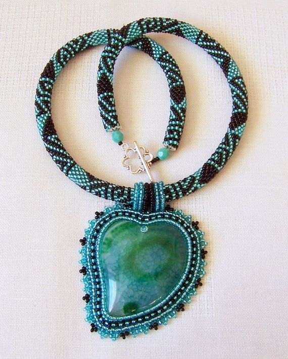 Beadwork Bead Embroidery Pendant Necklace with Green Agate - Statement necklace - heart necklace - Emerald Heart - teal - green - black. After long and happy hours of creative work this necklace was born . Beautiful Green Agate pendant bead (40x40mm), czech seed beads, beaded crocheted rope