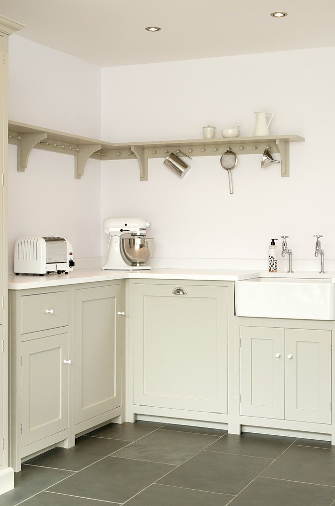 A soft muted colour palette works perfectly in this deVOL Shaker Kitchen.