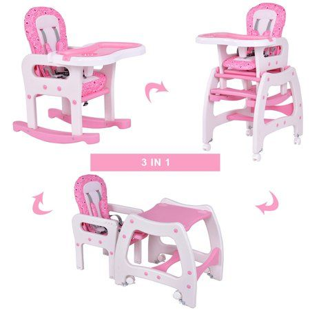 Costway 3 in 1 Baby High Chair Convertible Play Table Seat Booster Toddler Feeding Tray Pink Walmart.com