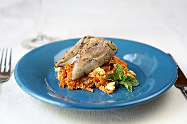This quail recipe takes inspiration from North African cuisine with a little honey in the marinade, and served on a bed of carrot salad with Harissa sauce.