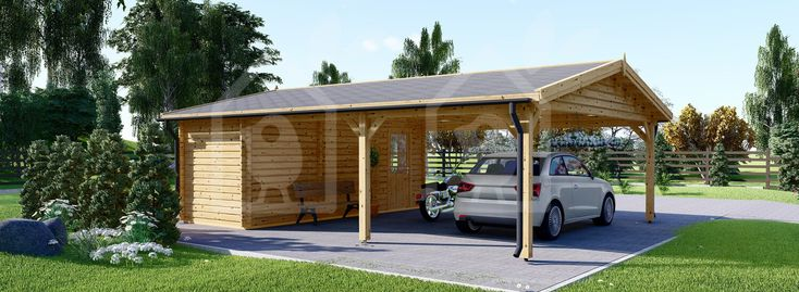 Double Wooden Carport With Shed 7.7m x 6m (25x20 ft) 44 mm ...