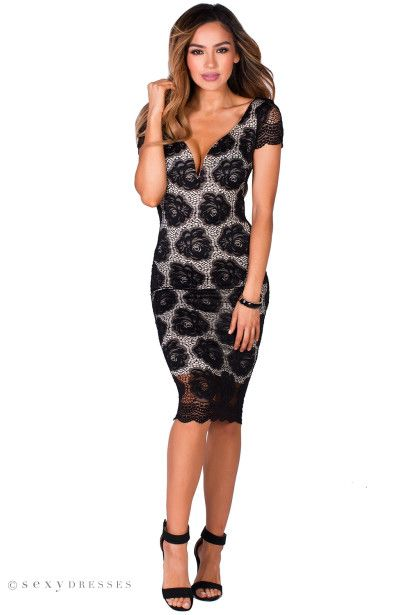 """Tisha"" Black & Nude Beautiful Bodycon Floral Lace Midi Dress with Sleeves"