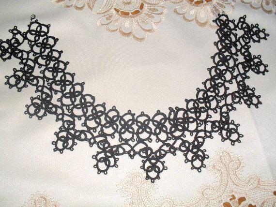 Фриволите Фриволите кружева воротник ожерелье вязаные черный Choker