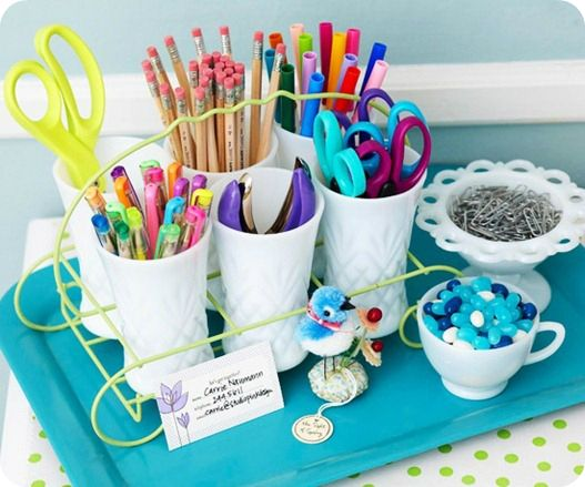 Also like this idea for teens & adults~ Creative Ideas for Storing School & Office Supplies at Home #SpringDream