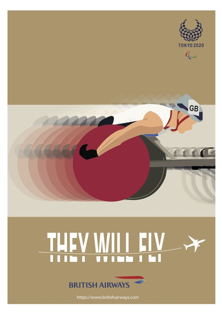 'They will fly' poster design, for British Airways 2020 Tokyo Paralympics advertising campaign by Ben White, Esher college 2017