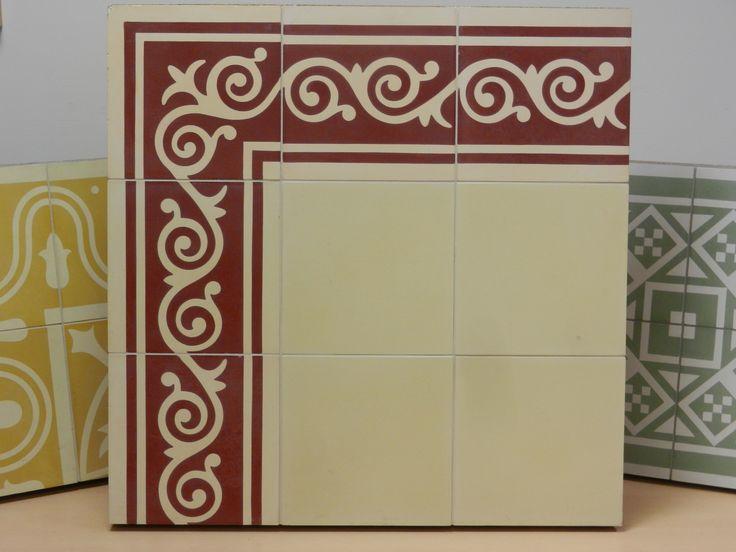 Handmade Encaustic Tiles, 20x20 Cm Format. 9018 DR Border / 1010 BW Cream.  Enkaustische FlieseFliesen