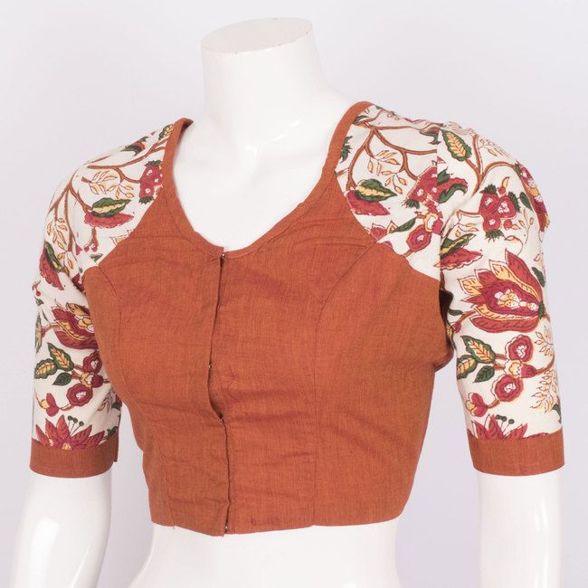 Tvaksati Hand Crafted Cotton Blouse With Floral Sleeve 10008566 - AVISHYA.COM