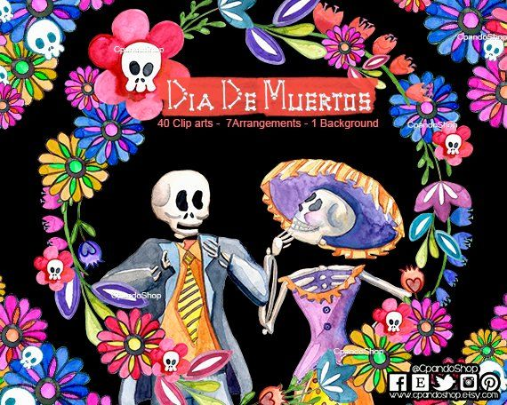 40 Imagenes Por Separado 5 Arreglos Florales 1 Marco Lineal En Formato Png Fondo Transparente Pintadas A Mano Y Di Dia De Los Muertos Dia De Muertos Clipart