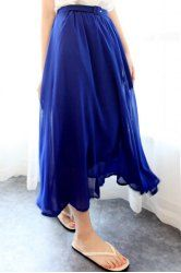 $7.46 Solid Color Fairy Style Chiffon High Waist Skirt For Women
