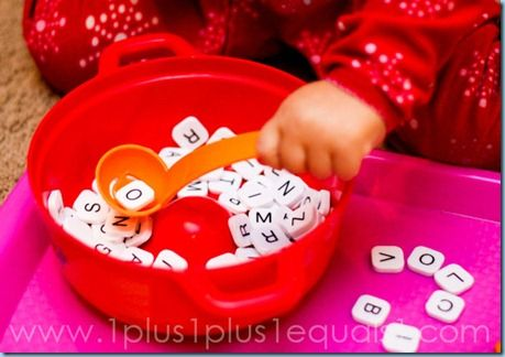 Scrabble Alphabet Soup {32 months} #totschool #preschool #tottrays