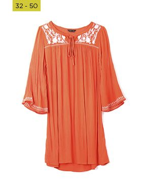 crinkle embroidered peasant tunic
