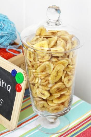 repackaged (in super cute wrapping and tag ofcourse) banana chips as favors?