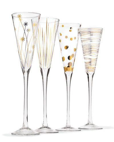 H7Z76 Champagne Flutes, Set of 4