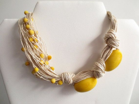 Yellow Oval Tagua Nut Beads Linen Cord Asymmetric by ArteTeer, $30.00