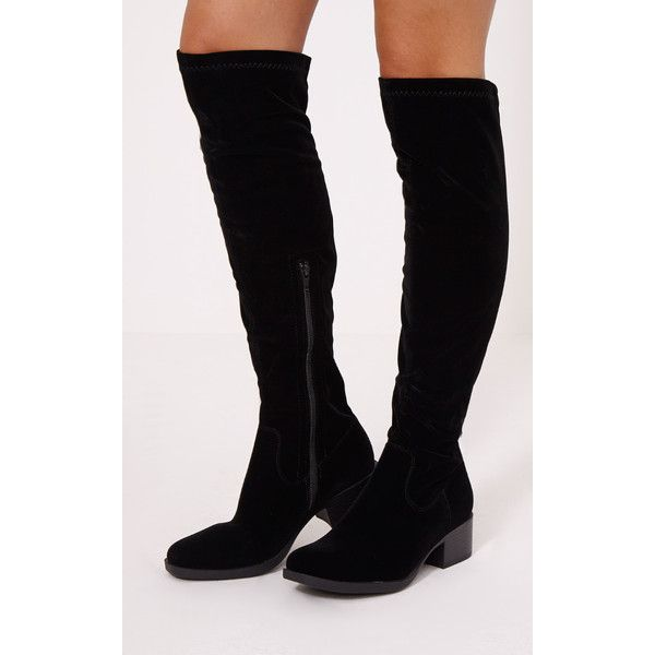 Jessie Black Faux Suede Flat Knee Boots-3 ($43) ❤ liked on Polyvore featuring shoes, boots, black, black zip up boots, black flat boots, faux-suede boots, block heel knee high boots and zip up boots