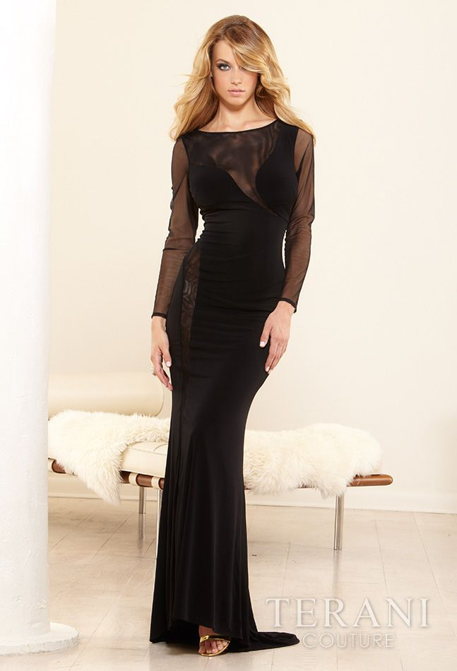 Mesh long sleeve gown
