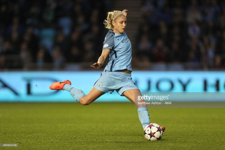 Steph Houghton of Manchester City during the UEFA Women's Champions League Quarter Final second leg match between Manchester City and Fortuna at Mini Stadium on March 30, 2017 in Manchester, England.