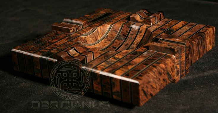 Cigar Ashtray Hand Made / Semiprecious Natural Obsidian Stone / Dark Mahogany Color
